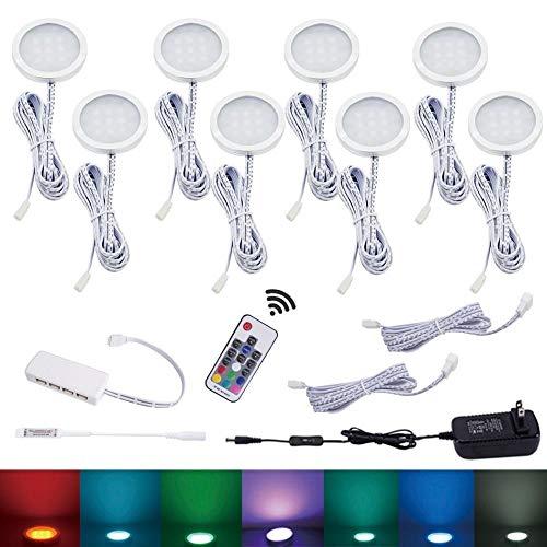 Islandgizmo 8 RGB Color Changing LED Under Cabinet Lighting Puck Lights Wireless by Islandgizmo (Image #1)