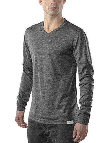 Woolly Clothing Men's Merino Wool V-Neck Long Sleeve Shirt - Ultralight - Wicking Breathable Anti-Odor L CHR Charcoal