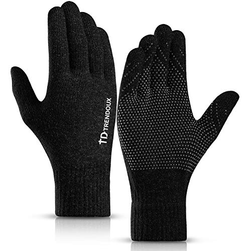 (TRENDOUX Touchscreen Gloves, Knit 360° Whole Palm Touch Screen Winter Glove Men Women Texting Smartphone Driving - Anti-Slip Silicone Gel - Thermal Soft Wool Lining - Warm in Cold Weather - Black - M)