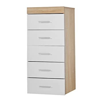 779da16d201f WEIBO White & Sonoma Oak Effect Tall Boy 5 Drawer Narrow Chest of Drawers  Bedroom Furniture