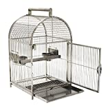 """PawHut 25"""" Bird Carrier Cage Parrot Macaw Cockatiel Travel Cage Stainless Steel Dome Top with Two Feed Bowls"""