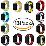 MoreJoy for Apple Watch Band Series 1 Series 2 Soft Sports Silicone Bracelet Strap Wristband Replacement Watchband with Quick Release for Apple Nike+ Sport Band (42mm, 13 PCs(13 Different Colors))