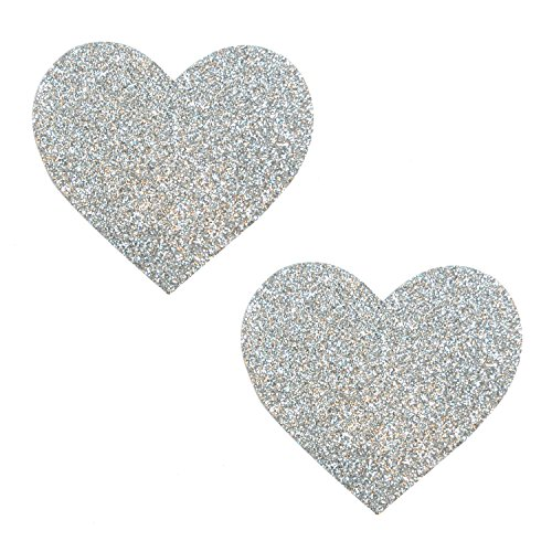 Neva Nude Silver Pixie Dust Glitter I Heart U Nipztix Pasties Nipple Covers]()