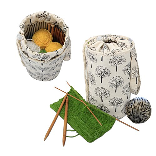 Luxja Small Yarn Storage Bag, Portable Knitting Bag for Yarn Skeins, Crochet Hooks, Knitting Needles (up to 10 Inches) and Other Small Accessories (Small/Trees) by LUXJA