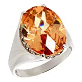 Sterling Silver Large Golden Orange Cubic Zirconia Ring Oval, size 6