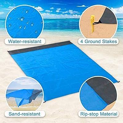 Manta de Playa Topspitgo Manta de Picnic de 210 x 200 cm Port/átil Impermeable para la Arena Ultraligero Secado r/ápido y Funda de Camping Alfombras para vajilla de Exterior y Picnic