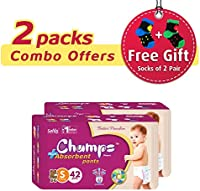 Premium Champs High Absorbent Premium Pant Style Diaper (Pack of 2)(Free 2-Pair Socks)| Premium Pant Diapers | Premium Diapers | Premium Baby Diapers | anti-rash and anti-bacterial diaper | (Small, 42) …