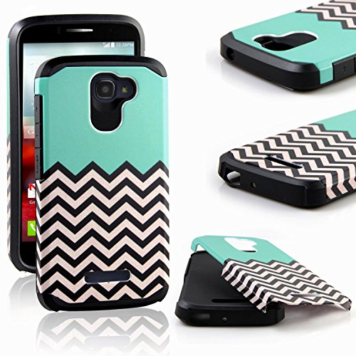 Alcatel One Touch Fierce 2 Case, RANZ Teal Waves Pattern Desgin with Black Hard Impact Dual Layer Shockproof Bumper Case For Alcatel One Touch Fierce 2 / Alcatel 7040T (T-Mobile/MetroPCS) / POP ICON A564C (Straight Talk/TracFone)