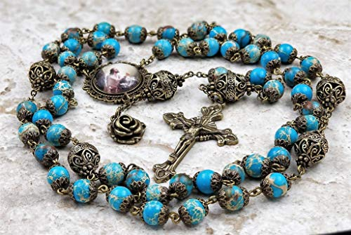Jesus in the Garden Blue Sea Sediment Jasper Stress,Serenity,Protection Handcrafted Gemstone Rosary