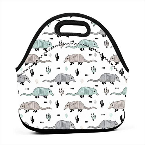 Neoprene Portable Lunch Bag Carry Case Tote with Zipper Box Cooler Container Bags Picnic Outdoor Travel Fashionable Handbag Pouch for Women Men Kids Girls Cute Quirky Armadillo Cactus Woodland ()