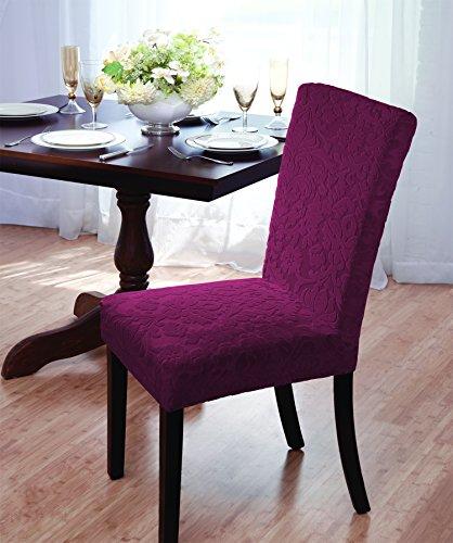 Luxurious Velvet Damask Dining Chair Cover, Beige, Burgundy, Brown, Green (Burgundy)