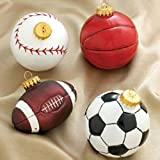 Club Pack of 24 Soccer, Baseball, Football, Basketball Glass Christmas Ornaments