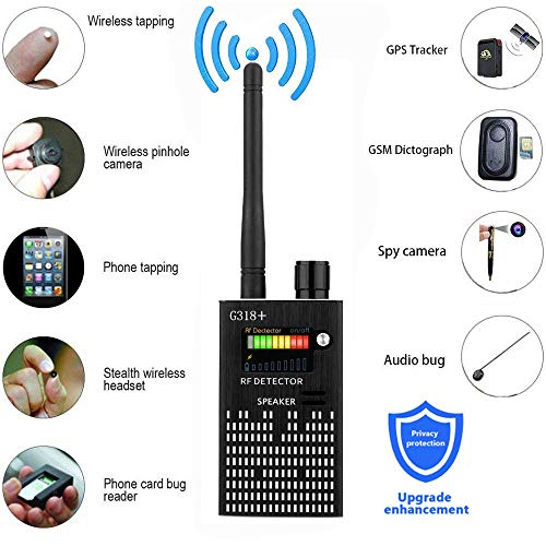 Professional Wireless RF Signal Detector, Sensico Anti Spy Camera Detector Set, G318+ Multi-Functional GSM Device Finder, Wireless Audio Bug Hidden Camera Detector GPS Tracker Scanner