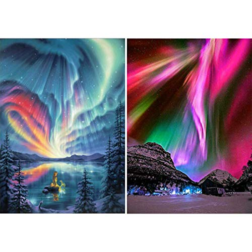 Yomiie 2 Pack 5D Diamond Painting Aurora Polaris Full Drill by Number Kits for Adults, Polar Lights Scenery Paint with Diamond Art Rhinestone Embroidery Cross Stitch Craft Decor (12x16inch)