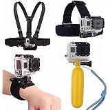 Pacote com Acessórios para câmeras de ação Gopro Xiaomi Sport Cam Hd e outras câmeras do mesmo estilo com cinta peito e cabeça suporte pulso e flutuador (4 itens)