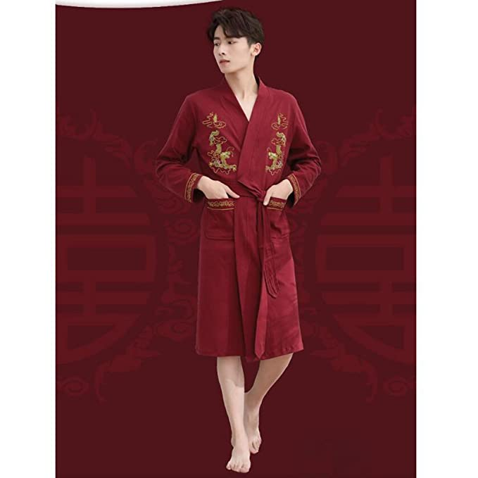 9ae667551a Bathrobe ZLR Chinese Style Fashion Simple Autumn Robe Men s Long-sleeved  Cotton Spring Fall Pajamas (Color   Red
