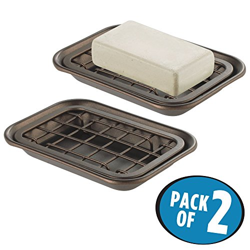 mDesign 2-Piece Soap Dish Tray for Kitchen Sink Countertops: