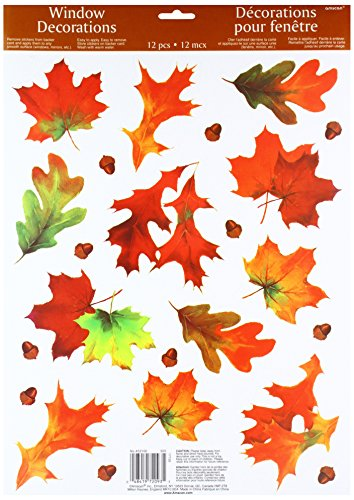 Amscan Colors of Fall Thanksgiving Party Autumn Breeze Window Decoration, Multicolor, 18