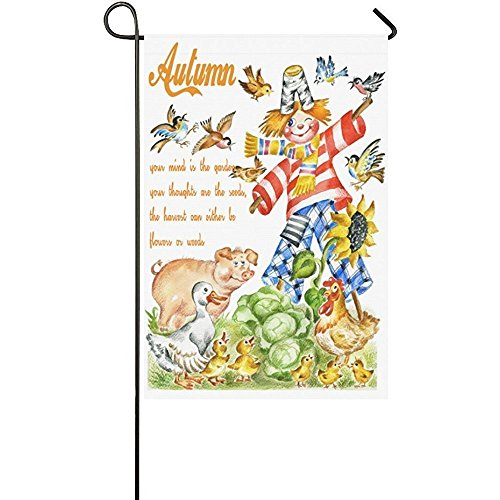 KGEDLA Autumn Scarecrow Quote Polyester Garden Flag House Banner 12 x 18 inch, Harvest Fall Decorative Flag for Wedding Party Yard Home Outdoor Decor Scarecrow Decorative Banner