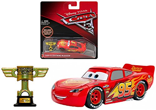 Mcqueen Piston Cup - Cars Lightning McQueen With Piston Cup Disney 3 DieCast 1:55 Scale