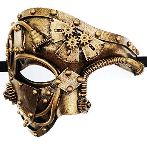 CCUFO Steam Punk Phantom of The Opera Vintage Masquerade Venetian Luxury Men Face Mask | Party, Fancy Ball, Prom, Mardi Gras, Wedding, Wall Decoration (Gold)