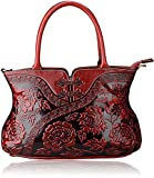 PIJUSHI Designer Floral Handbag for Women Top Handle Satchel Bags Cheongsam Shoudler Bag (22332 Red)