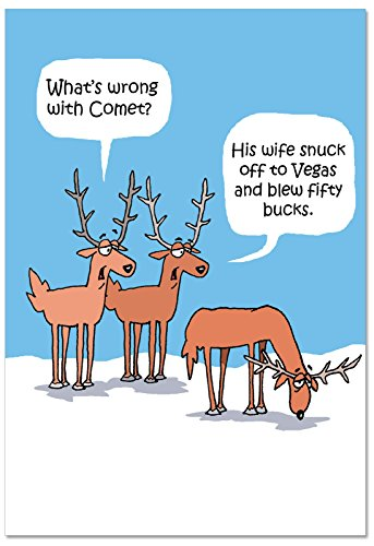 B2497XSG Box Set of 12 Box Of Comet' S Problem Christmas Cards Funny Christmas Card; with ()
