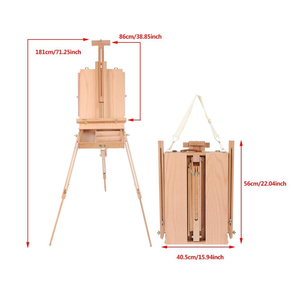 French Art Easel, 1pc Wooden Table Painting Easel Case Sketch Box Portable Folding Artist Painters Tripod with Shoulder Strap for Field Painting and Drawing(Large)(大号) by Zerone (Image #4)