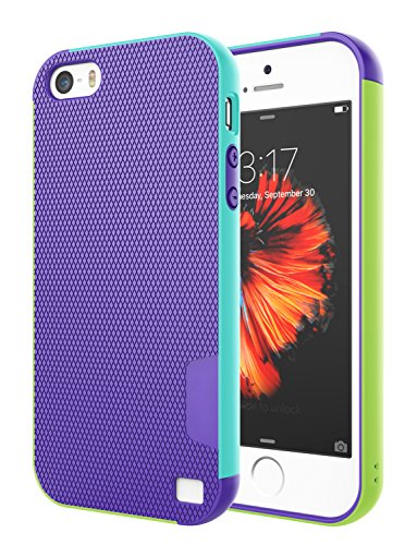 iPhone 5S Case, iPhone SE Case, iPhone 5 Case, Jeylly [3 Color] Slim Hybrid Impact Rugged Soft TPU & Hard PC Bumper Shockproof Protective Anti-slip Case Cover Shell for Apple iPhone 5/5s/SE - Purple