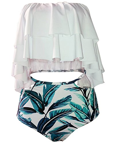 9c49f2249b4 Tempt Me Women Two Piece Off Shoulder Ruffled Flounce Crop Bikini Top with Print  Cut Out Bottoms