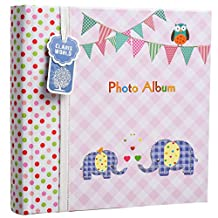 Apan 6x4'' Large Baby Boy or Girl Slip In Case Memo Photo Album For 200 Photos - Ideal Gift (Pink Elephant Kids)
