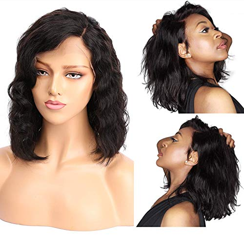 Lace Front Wigs for Black Women, Human Hair Wigs with Brazilian Virgin Hair, Water Wave, 130% Density, Natural Black Color, 10 inch