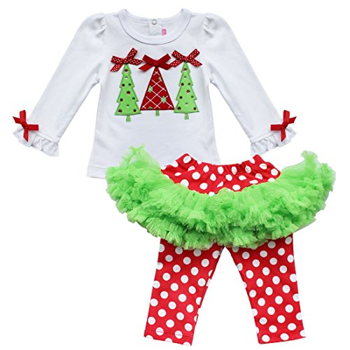 iiniim Baby Girl's Top Shirt + Polka Dots Tutu Leggings 2pcs Outfit Easter Dress Up White Red 0-6 (2)