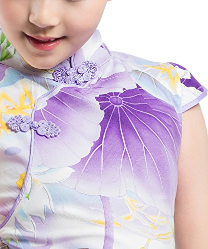 Robe Style Chinois Qipao Floral Akaayuko Cheongsam Filles Costume Violet Party q8BwOFR