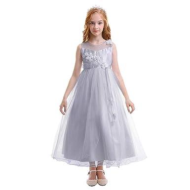 ec3157d9337 FYMNSI Blumenmädchen Kleid Kinder Abenkleid Kommunionkleid Mädchen Festlich  Maxikleid Festkleid Festzug Hochzeit Brautjungfer Partykleid Tüllkleid  Ärmellos