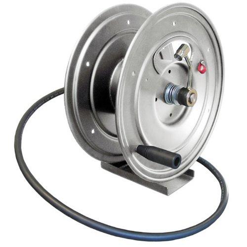 General Pump Dhrp50150 3 8  X 150 Charcoal Grey Steel Hose Reel With Flat Sidewalls  Pedestal Stand  Swivel Arm  Pin Lock   Brake  5000 Psi