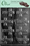 Cybrtrayd R021 Fancy Crosses Chocolate Candy Mold with Exclusive Cybrtrayd Copyrighted Chocolate Molding Instructions plus Optional Candy Packaging Bundles