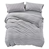 PURE ERA Striped Duvet Cover Set Jersey Knit Cotton Soft Comfy 3 Pieces Home Bedding Sets Reversible Duvet Cover with Pillow Shams Grey Queen
