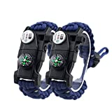 2PCS Adjustable Survival Bracelet, 7 Core Paracord 20 in 1 Emergency Sports Wristband Gear Kit with Waterproof LED SOS Light, Compass, Rescue Whistle, Fire Starter Multi-tool for Wilderness Adventure