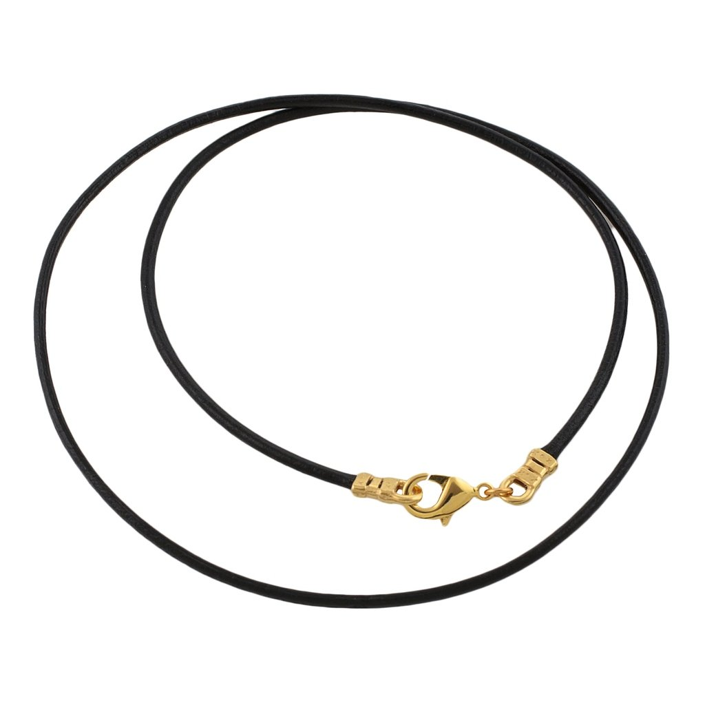 Gold Plated 1.8mm Fine Black Leather Cord Necklace - 24 inches