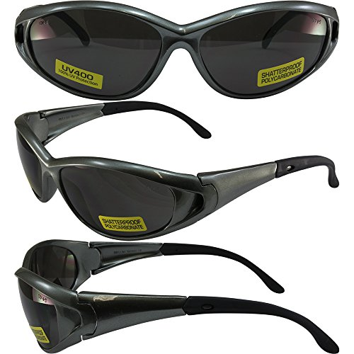 Global Vision Climax Safety Sunglasses Gloss Grey Frames Smoke Lenses ANSI Z87.1