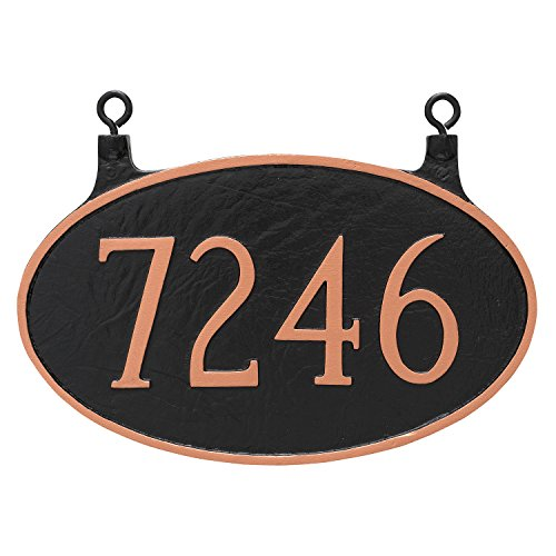 "Montague Metal TSH-0001S1-H-WB 8.5"" x 13.5"" Double Sided Hanging Classic Oval Address Sign Plaque, Standard, White/Black"