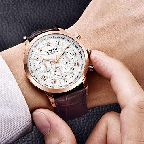 Amazon.com: NORTH Men Luxury Watches, Mens Chronograph Sport Wrist Watch, Water Resistant Date Leather Watch for Men (6009-6PWG): Watches