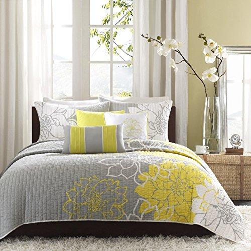 Madison Park Lola 6 Piece Quilted Coverlet Set, Full/Queen, Yellow/Grey