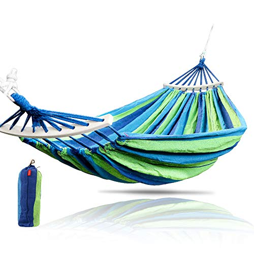 - Rusee Double 2 Person Cotton Fabric Canvas Travel Hammocks 450lbs Ultralight Camping Hammock Portable Beach Swing Bed with Hardwood Spreader Bar Tree Hanging Suspended Outdoor Indoor Bed
