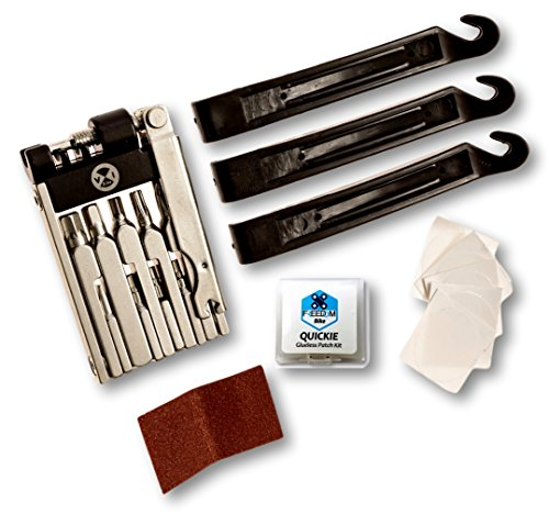 (Bike Multi Tool | Multifunction Kit Includes 3 Tire Levers and Glueless Patch Kit with 6 Patches | Essential12 by Freedom Bike | Compact to fit any Saddle Bag!)