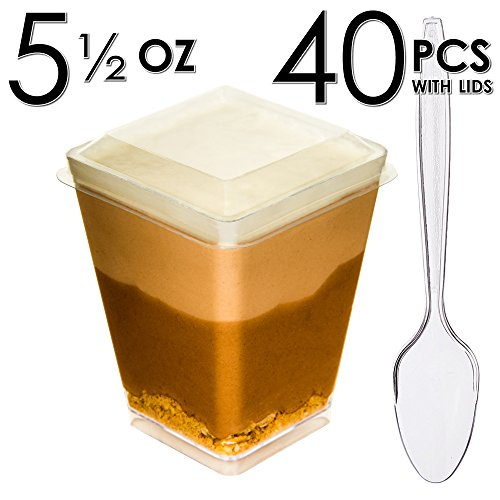 DLux Mini Dessert Cups, Appetizer Bowls with Lids, Mini Spoons & Recipe e-Book [Clear Plastic, 5 oz, Square Large, 40 Count] Small Catering Supplies, Disposable Parfait Tasting Shooters (Halloween Birthday Cake Designs)