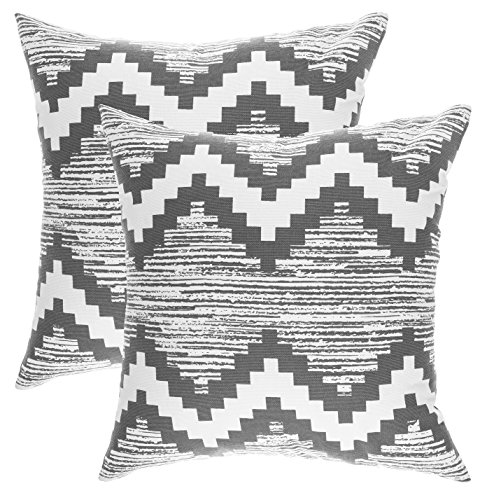 TreeWool, (2 Pack) Throw Pillow Covers Ikat Chevron Accent in Cotton Canvas (18 x 18 Inches; Graphite) - Ikat Throw Pillow