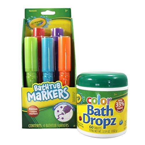 Crayola Bathtub Markers and Crayola Color Bath Drops, 60 tablets - Bring Creative Fun to Bath Time - Non-toxic - Crayola Bathtub