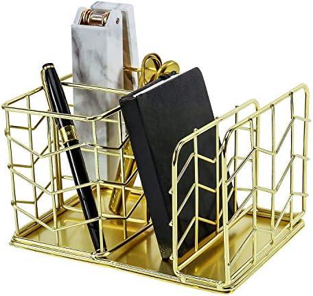 Simmer Stone Stiftehalter mit 2 Schlitzen und Briefsortierer gold